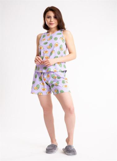 Madame Sare  Kadın Avakado Baskılı Şortlu Pijama Takımı Lila
